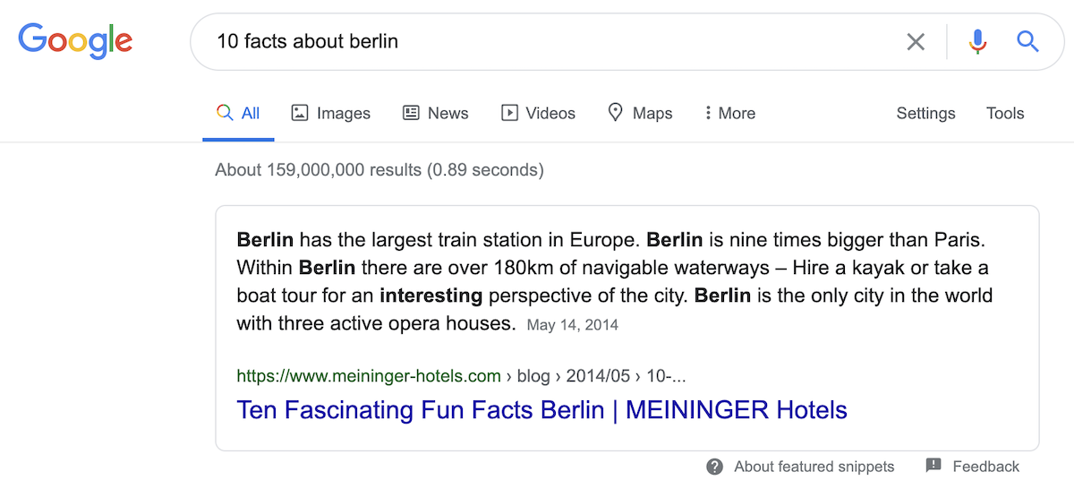 Example featured snippet